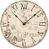 Item C2039 Vintage Style Shabby Chic Paris Clock (12 Inch Diameter) For Sale
