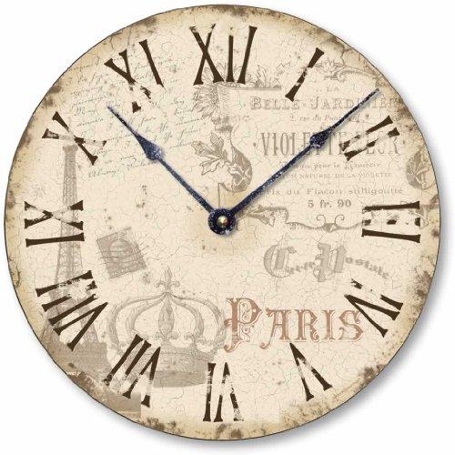 Fairy Freckles Studios Item C2039 Vintage Style Shabby Chic Paris Clock 10.5 Inch Diameter