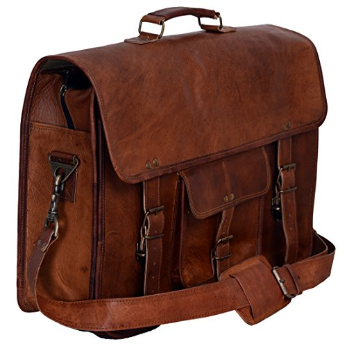 KPL 18 Inch Vintage Men's Brown Handmade Leather Briefcase Best Laptop Messenger Bag Satchel by Komal's Passion Leather (Image #1)