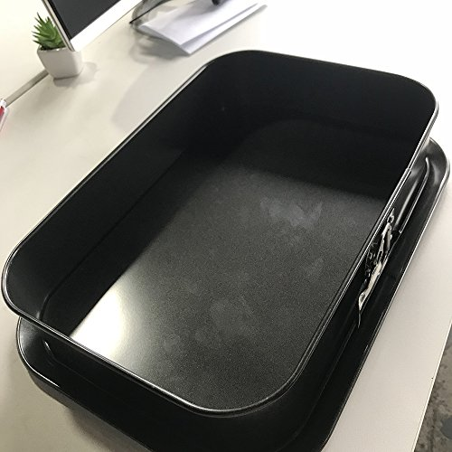 """Non-stick Cheesecake Pan, Springform Pan, Rectangle Cake Pan with Removable Bottom Leakproof & Quick Release Latch Bakeware 14""""9.3""""3"""" Black BY ERYA by Eyra (Image #5)"""