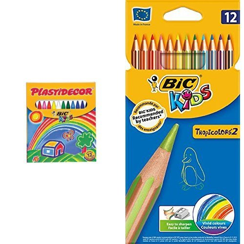 Bic - Pack 12 ceras de colores Plastidecor + 12 lápices de colores Bic Kids