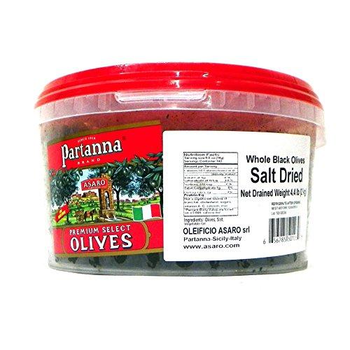 Partanna Premium Select Whole Dried Olives, Black Salt, 4.4 Pound