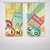 iPrint Baby Girl Bedroom Curtains Vintage Decor Bingo Game with Ball and Cards Pop Art Stylized Lottery Hobby Celebration Theme High-Precision Blackout CurtainMulti