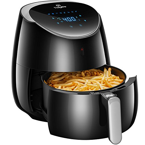 Tidylife Air Fryer XL, 2000W 5.8-Quarts 8-in-1 Oil Free Air Cooker with Cookbook, Smart Touchscreen, Recipes, Auto Shut Off, Black Fryer