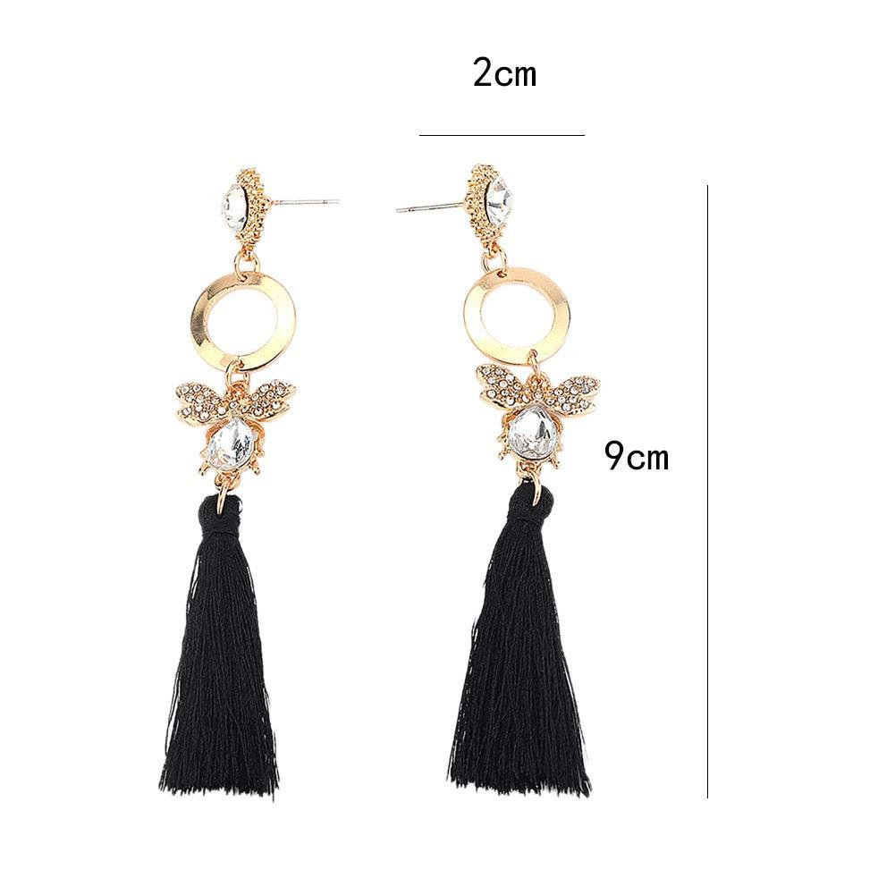 Wansan Tassel Earrings for Women Girls Butterfly Shaped Fringe Earrings Bohemian Dangle Drop Stud Earrings Fashion Jewelry Valentine Birthday