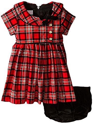 Bonnie Baby Baby Girls' Corduroy Printed Plaid Dress, Red, 3-6 Months