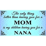 THE ONLY THING BETTER THEN HAVING YOU FOR A MOM IS MY CHILDREN HAVING YOU FOR A NANA - NEW 9X6 HIGH QUALITY HARDBOARD SIGN PLAQUE - THIS NOVELTY SIGN SHOULD BE USED INDOORS. OUR NOVELTY SIGNS MAKE EXCELLENT GIFTS! ALL SIGNS ARE MADE IN CANADA!