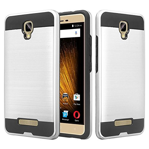 BLU Vivo XL2 case, SOGA [Brush Series] Shock Absorption/Drop Protection Dual Layer Hard Slim Hybrid Armor Phone Case for BLU Vivo XL2 V0070UU - Silver