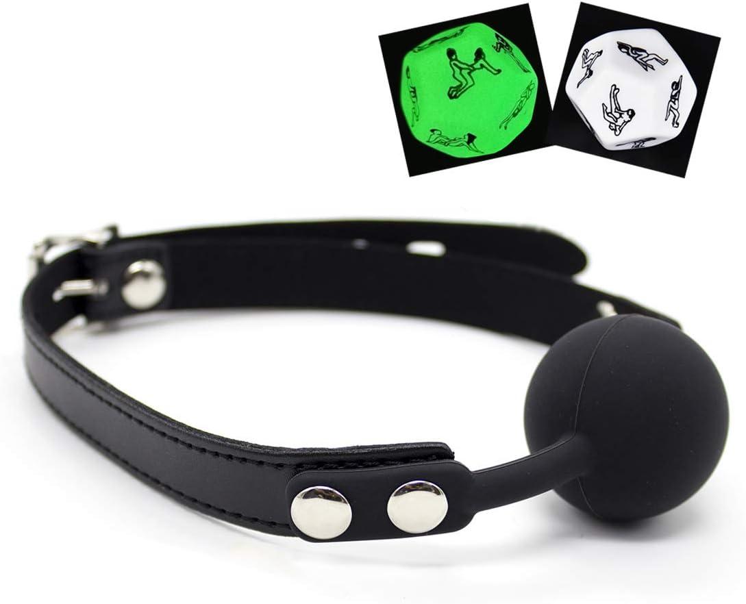Correas fijas de cuero con bola de boca, seguras y cómodas, incluyendo 2 dados gratis (negro)