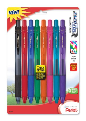 Pentel EnerGel-X Colors Retractable Liquid Gel Pen, 0.7mm, Metal Tip, Assorted Ink, 8 Pack (BL107CRBP8M) (Pentel Metal Energel Tip)