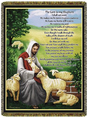 Simply Home The Lord is My Shepherd 70″ x 50″ Tapestry Throw Blanket USA Made SKU 10146 ()