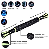 Idson-Muscle-Roller-Stick-for-Athletes-18-Inches-Body-Massage-Sticks-Tools-Muscle-Roller-Massager-for-Relief-Muscle-SorenessCramping-and-TightnessHelp-Legs-and-Back-RecoveryBlack-Green