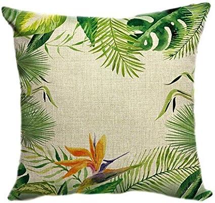 Pillow Cover Funda de cojín decorativa para sofá de 80 x 80 cm, fundas de cojín, fundas de almohada, cojín verde tropical, hojas de palmera: Amazon.es: Hogar