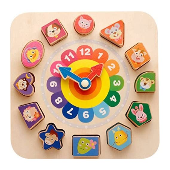 Attractive Cartoon with Number Building Blocks Wear Line Digital Clock Educational Game for Toddlers