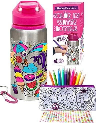 Purple Ladybug CREA tu Propia Botella de Agua Personalizada con 10 Rotuladores Vivos Pegatinas de Gemas y Estuche de Regalo – Botella de Agua para Niños, Sin BPA Niña: Amazon.es: Juguetes y