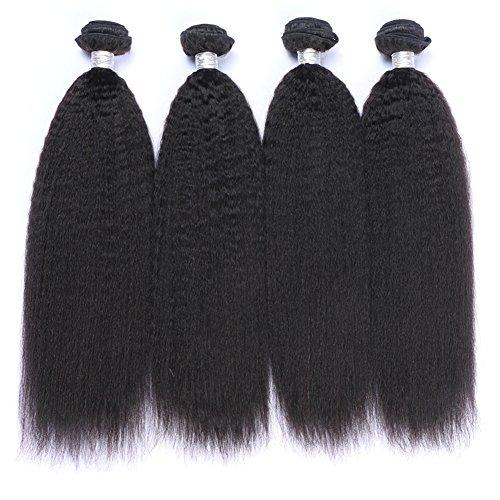 - IMAYLI Brazilian Kinky Straight Hair 4 Bundles Yaki Human Hair Bundles 100% Virgin Kinky Straight Human Hair Extensions Natural Black(14141616)