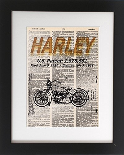 - Harley Davidson Patent File - Upcycled Dictionary Art Print 8x10. - UNFRAMED - Frame and matting are for presentation purposes only to show you how they can look.