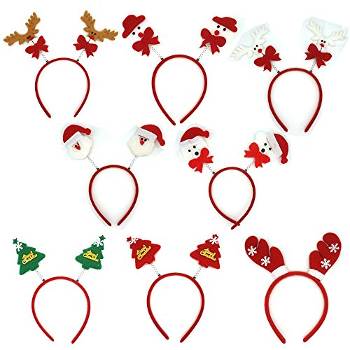 Manc GG Cute Christmas Headbands Packs Christmas Santa Claus Decoration Accessories Gifts for Christmas Xmas Party Easter Costume 8PCS