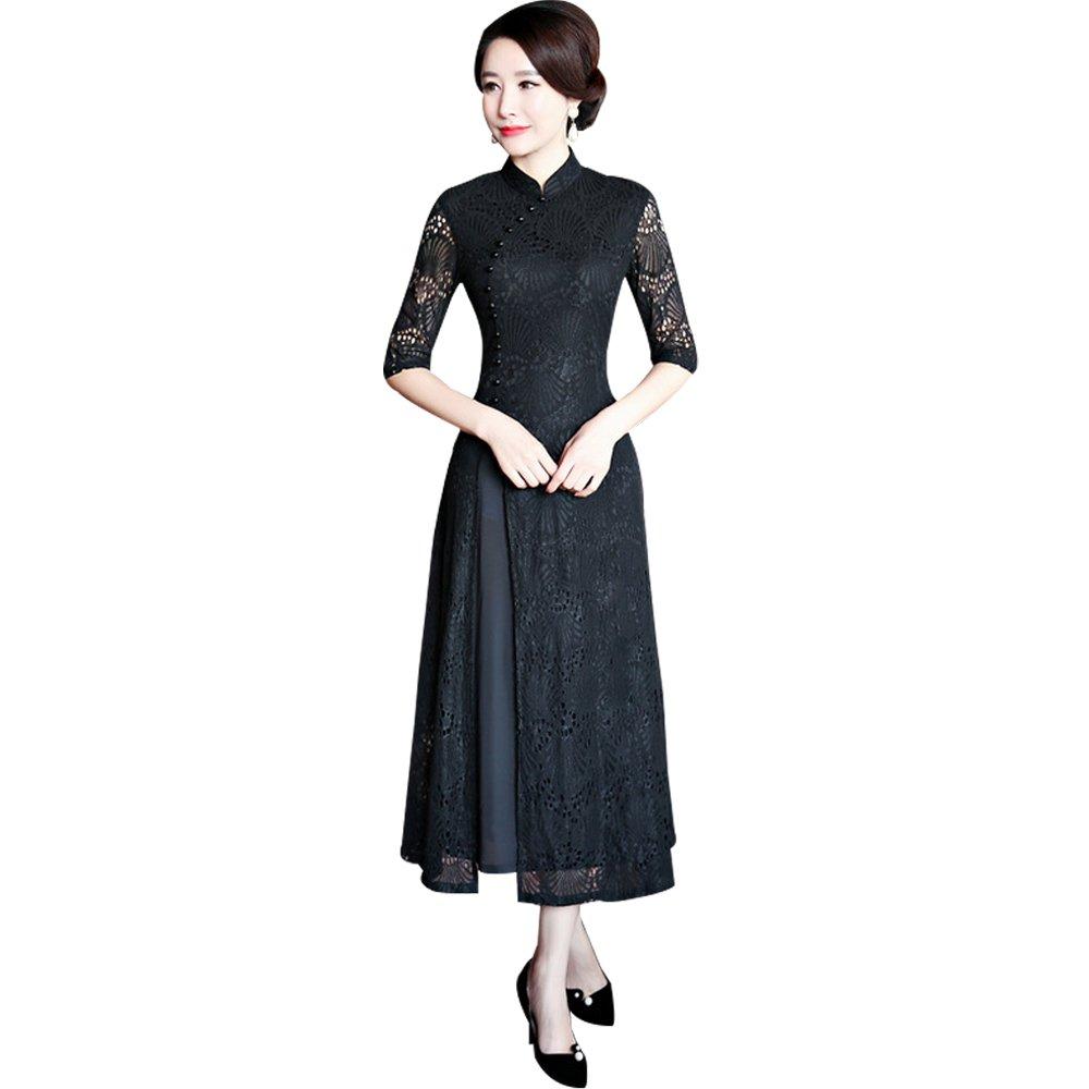 (福丸) チャイナドレス ロング レース アオザイ ベトナム ワンピース ドレス 結婚式 セクシー 4l B079N9X6W5 L|ブラック ブラック L