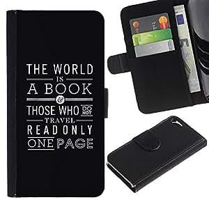 """Apple iPhone 5 / iPhone 5S , la tarjeta de Crédito Slots PU Funda de cuero Monedero caso cubierta de piel ("""" Book Reading Page Text Black Art Deco"""")"""