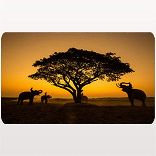 Custom Welcome Doormat Silhouette Elephant On Sunsetelephant Thai Animals Wildlife Africa Nature African Floor Entrance Rug 18X30 Inches Indoor/Outdoor/Front Door Bathroom Mats Rubber Non Slip by AlliuCoo