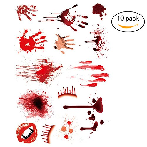 Halloween Creative Zombie Scars Temporary Waterproof Horror Bloody Scar Tattoos for Cosplay Makeup Costume or Halloween Party Sticker (Halloween Cute Zombie Makeup)