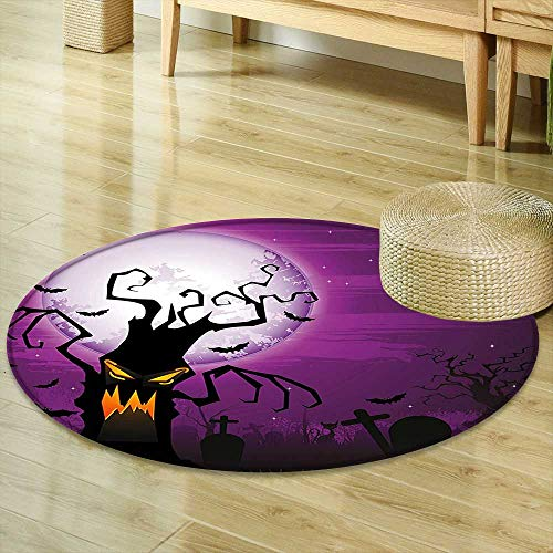 Mikihome Round Rugs for Bedroom Halloween Decorations Collection Scary Tree with Creepy Human Face and Twiggy Arm Grunge Design Cemetery Scene Purple Black Circle Rugs for Living Room R-35 -