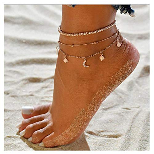 Eternal-Z Women Beach Star Crescent Moon Anklet Bracelet Fashion Bohemian Sun Beads Barefoot Chain Jewelry for Girls and Ladies Gold ()