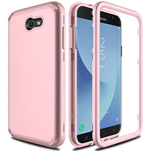 Samsung Galaxy J7 Prime Case, Galaxy J7 V Case, J7 Perx/J7 Sky Pro/Galaxy Halo AMENQ 3 in 1 Heavy Duty Absorb Impact Silicone Rubber Smooth PC Protection Cover for Galaxy J7 2017 (Rose Gold)