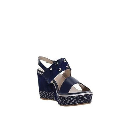 R70814 Pelle Blu Sandali Melluso In Scarpe Denim Donna nmNwv80