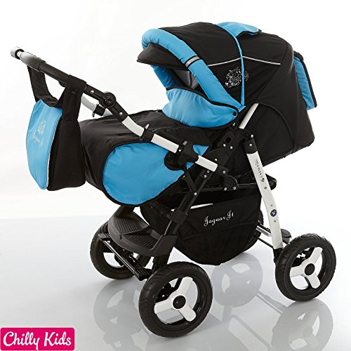 Chilly Kids Jaguar 2 in 1 Pram Combi Stroller & Pushchair (rain cover, mosquito net, 07 colors) 30 Black Shadow & Aqua by Chilly Kids