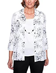 Alfred Dunner Womens Plus Size Etched Floral Print Two For One Top