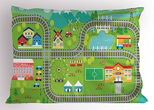 Kid's Activity Pillow Sham by Ambesonne, Train Tracks with Colorful Town School City Mall and Amusement Park Fair, Decorative Standard Queen Size Printed Pillowcase, 30 X 20 Inches, - City Park Mall