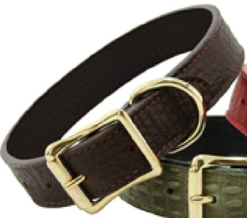 "Auburn Leather Savannah Reptile Print Dog Collar - Cognac 22""-26"""