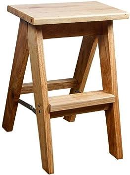 ZfgG Escalera plegable de 2 peldaños antideslizante peldaños de seguridad de madera escalón hogar cocina: Amazon.es: Bricolaje y herramientas