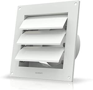 """AC Infinity Wall Mount Duct Shutter, 6"""" Outdoor Louver Gable Vent Hood for Home Attic Grow Tent HVAC Systems"""