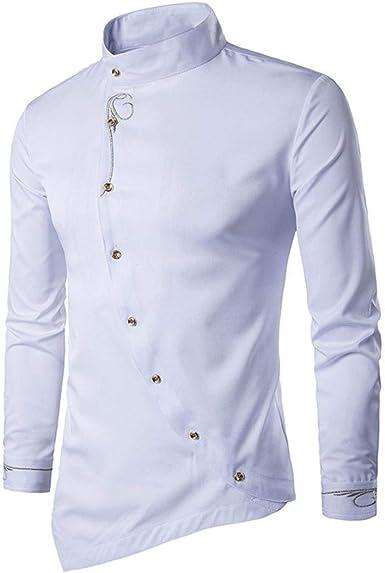 Camisa Hffan para Hombre con Estampado Camisa Ropa Slim Fit Tops Camisas Leisure Business Moda con Cuello Camisa Manga Larga En Gris Negro Azul Claro Asymmetry Design: Amazon.es: Ropa y accesorios