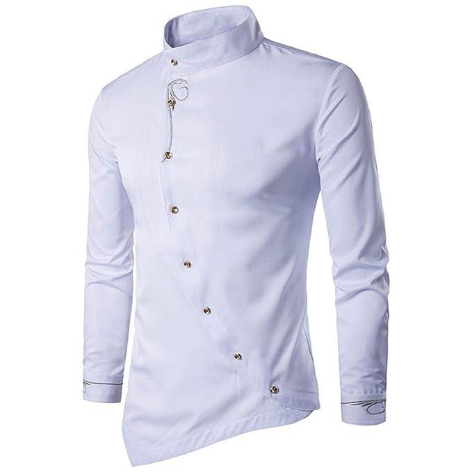 1046c7dbc6 Camisa Hffan para Hombre con Estampado Camisa Ropa Slim Fit Tops Camisas  Leisure Business Moda con Cuello Camisa Manga Larga En Gris Negro Azul  Claro ...