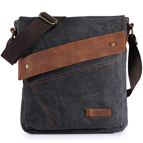 S-ZONE Vintage Lightweight Small Canvas Messenger Bag Travel Shoulder Crossbody Purse Dark (Gray)