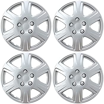 "BDK Toyota Corolla Style Hubcaps 15"" Wheel Cover - Silver Replica Cover, 4 Pieces"