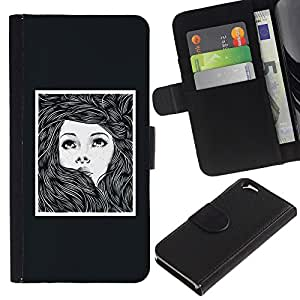 iKiki Tech / Cartera Funda Carcasa - Girl Woman Poster Drawing Frame - Apple iPhone 6 4.7
