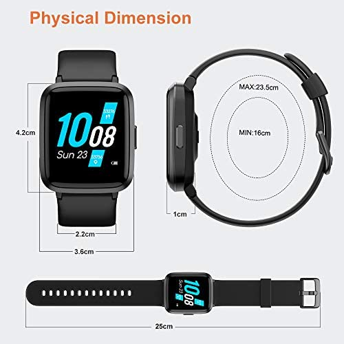 YAMAY Smart Watch 2020 Ver. Watches for Men Women Fitness Tracker Blood Pressure Monitor Blood Oxygen Meter Heart Rate Monitor IP68 Waterproof, Smartwatch Compatible with iPhone Samsung Android Phones 51F1H9o4czL