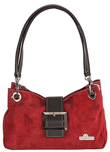 LIATALIA Red Cotton Italian Trim with Small Bag PIXIE Lining Real Brown Trim Suede Faux Leather FF7xg4r