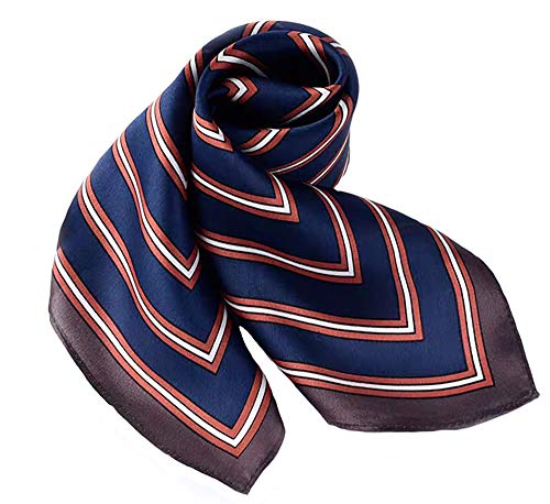 100% Pure Mulberry Silk Square Scarf for Hair-27''x27''- Soft Breathable Lightweight Satin Silk Neckerchief Headscarf (Brown & Navy Stripes) (Polka Colored Dots Multi)