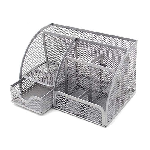 VANRA Office Supply Caddy Metal Mesh Desktop Supplies Organizer School Supply Holder Stuff Storage Organizer 6 Compartments with Drawer (Silver)