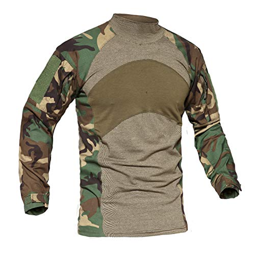 Camo Army Cotton Woodland T-shirt (Camo T Shirts for Men Cotton Army T-Shirt Hunting Shooting Tshirt Camouflage Tee Top CP Woodland)