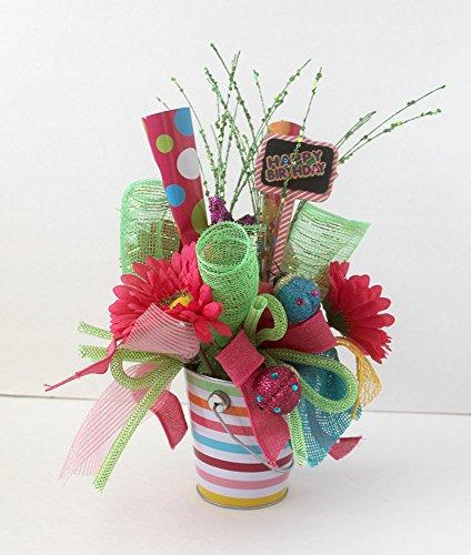 Happy Birthday Arrangement, floral arrangement, gift for her, Birthday party decoration, home decor (Birthday Arrangements For Her)