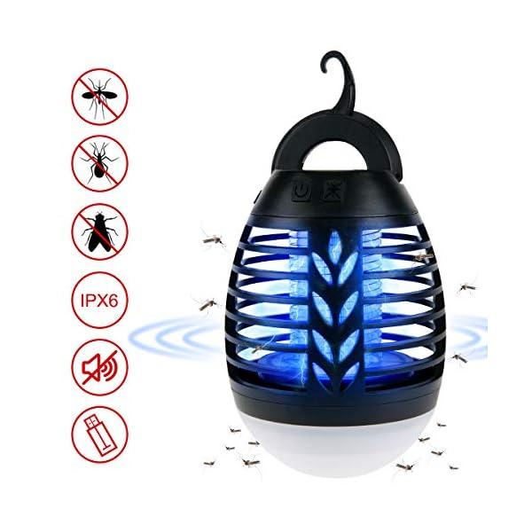 ROVLAK Zanzariera Elettrica Esterno 2-in-1 Lampada Antizanzare USB + Lanterna da Campeggio Ricaricabile Anti-zanzara… 1 spesavip