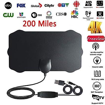 Ultra Thin Flat Indoor HDTV Amplified HD TV Signal Antenna Long Coax 200 Mile