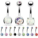 BodyJ4You 12PCS Belly Button Ring Sets Multicolor CZ Created-Opal Steel Navel Bar Value Pack Gift Box